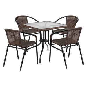 Modern Outdoor Patio Dining Set, Glass Table with 4 Rattan Chairs (Brown) (Purchase via PayPal Invoice with Free Shipping) for Sale in Philadelphia, PA
