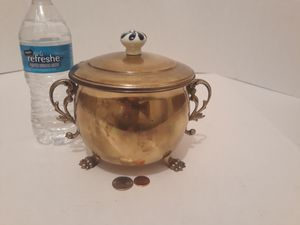 """Vintage Metal Brass Container with Lid, Porcelain Handle, Clawfoot Legs, 6"""" x 6"""", Home Decor, Kitchen Decor, Table Display, Shelf Display for Sale in Lakeside, CA"""