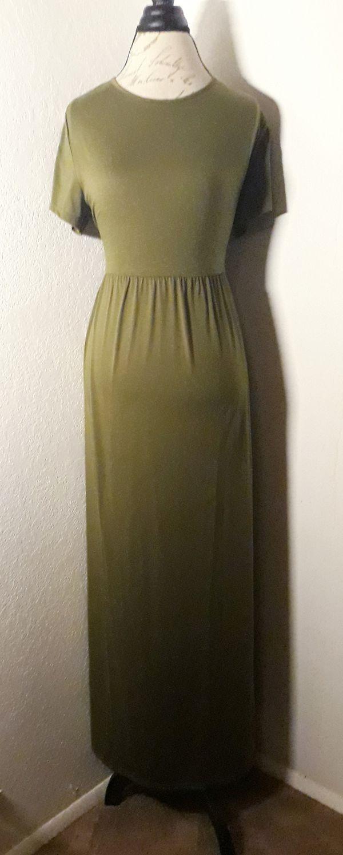 Olive Green Short Sleeve Maxi Dress Sz XL
