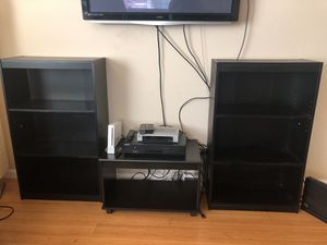 Two bookshelves with an entertainment box stand for Sale in San Jose, CA