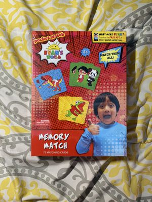 NEW Ryan's World Memory Match Kids Education Card Game for Sale in Garden Grove, CA