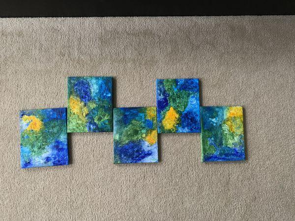 Corel reef abstract wall art (5 canvas)