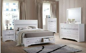 4PC white wood full bedroom set $699 queen $749 for Sale in Buena Park, CA