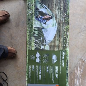 Tent 6 Piece Combo New In Box 4 Person Tent 2 Chair 2 Sleep Bag And Table for Sale in San Antonio, TX