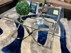 Square chrome glass coffee table for Sale in Fort Lauderdale, FL