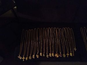 30 inch hq gold plated link chains with charms, 85 a piece obo for Sale in Mechanicsburg, PA