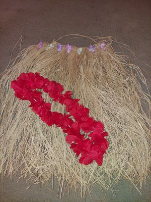 Junior size halloween costume hula skirt and lei for Sale in Plano, TX