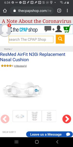 Lot of 5. Brand new in box airfit n30i sml wide cushion. Cpap nasal mask cradles for Sale in Mesa, AZ