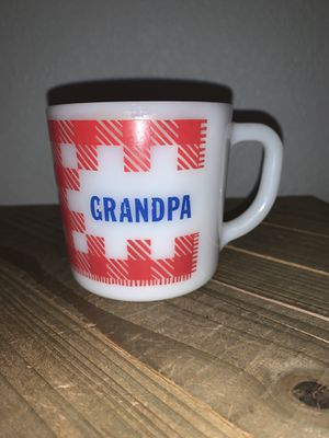Vintage 9 Oz Westfield red & white plaid milk glass Grandpa cup mug for Sale in Citrus Heights, CA