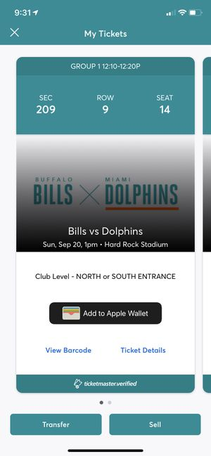 2 Miami Dolphins Tickets Club Level vs Buffalo Bills Section 209 Home Opener for Sale in Fort Lauderdale, FL