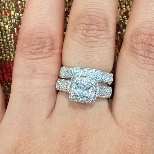 White sapphire silver wedding engagement ring band set size 7 available