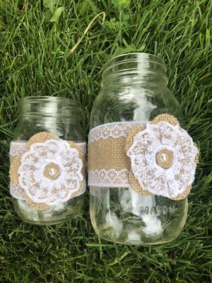Decorated mason jars (wedding decor) for Sale in Keizer, OR