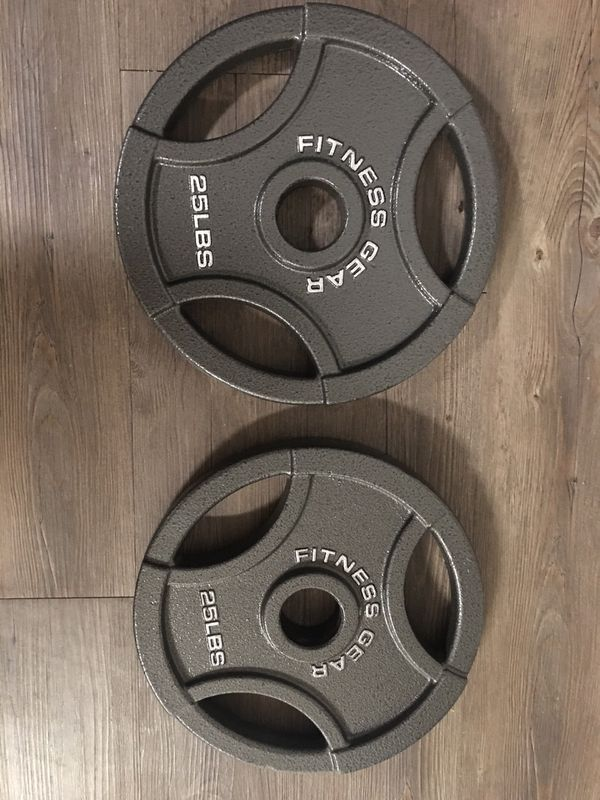Olympic Curl Bar / Easy Bar And 25lb Olympic Plate Set