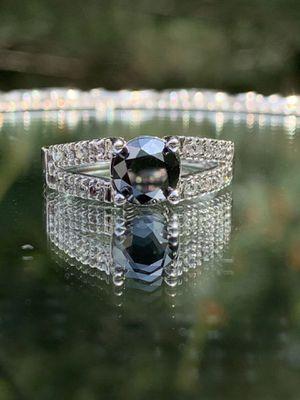 10K White Gold 1.25 Carat Black Diamond and White Diamond Ring for Sale in Sterling, VA