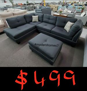 Black linen sectional sofa with ottoman for Sale in Cerritos, CA