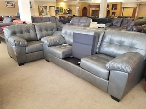 Grey Bonded Leather Sofa Sleeper and Loveseat Set for Sale in Phoenix, AZ