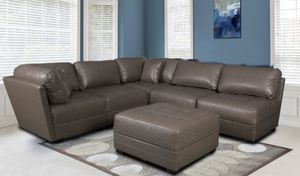 WE ARE OPEN! COMFY LEATHER GEL SECTIONAL WITH OTTOMAN! NO CREDIT NEEDED FINANCING! SAME DAY DELIVERY! for Sale in Tampa, FL