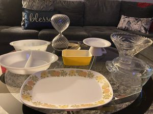 Vintage Pyrex, Noritake Sunny side China platter, glass bake. casserole dish. for Sale in Visalia, CA