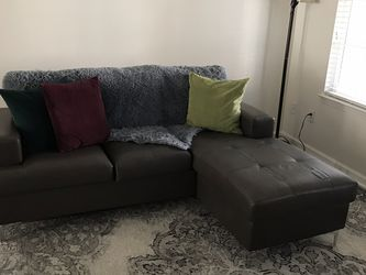 Gray Sofa Chaise in Faux Leather for Sale in San Diego,  CA