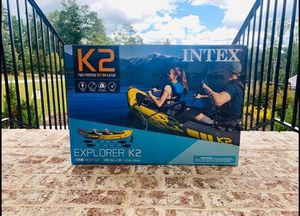 Intex kayak 2-person inflatable with aluminum oars and pump for Sale in Pomona, CA