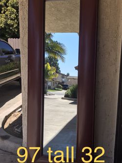 Oversized large red full length mirror leaning free standing 97 tall x 32 wide x 1 deep for Sale in Huntington Beach,  CA