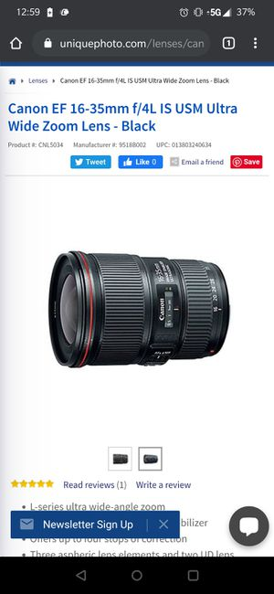 Canon 16 by 35 lens for Sale in Chula Vista, CA
