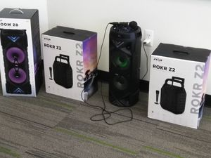 Bluetooth Speakers with great sound, microphone included, recordability, play music bluetooth or aux cable port or radio or sd card! Karaoke ready! for Sale in Harrisonburg, VA