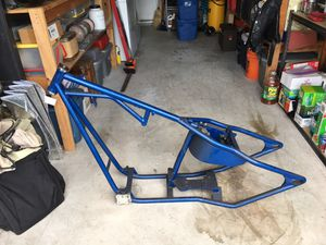 Daytec ridged frame for evo and earlier Harley Davidson motors. 41mm wide glide front end. 21 inch front wheel and 16 inch solid aluminum fat boy s for Sale in Oceanside, CA