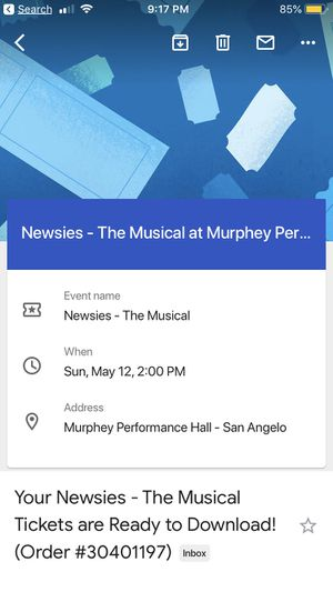 3 tickets to see the Newsies for Sale in San Angelo, TX