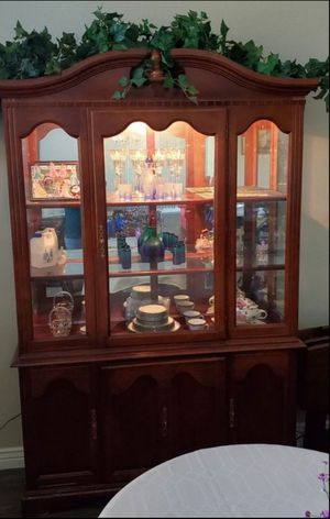 Lighted Antique China Cabinet, Hutch, 2 Piece Buffet Server for Sale in Surprise, AZ