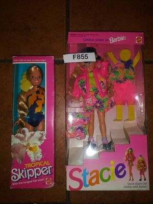 Two brand new in box collectible Mattel dolls Stacie Barbie little sister and tropical Skipper dolls for Sale in Hawthorne, CA