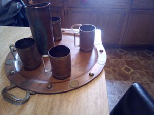 """Cobre copper and brass Tankard mugs(4.5"""") .Pitcher (9.5""""). serving platter (19.75""""). Vintage rare with platter this size. Great patina. for Sale in Ishpeming, MI"""