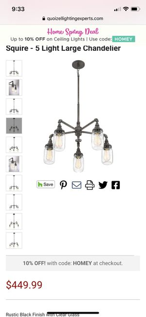 Quoizel 5 light modern chandelier. for Sale in Olympia, WA
