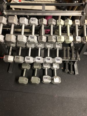 2lb to 50lb Dumbbell Set w/ Two Two-Tier Racks - 510lbs total for Sale in Beaverton, OR