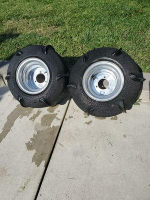 Sand Paddle (4) Rims and Tires back and front For Yamaha Raptor FIT'S. 50 or 80 or 90 for Sale in Montclair, CA