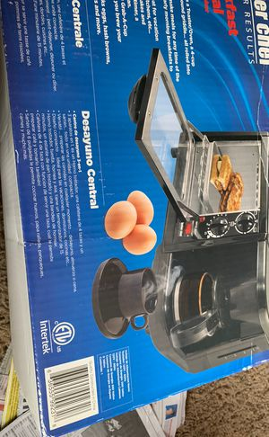 Breakfast central great for small spaces (boat apt. ) etc. coffee maker toaster 6 in. Round griddle for eggs hash browns etc. for Sale in Westminster, CA