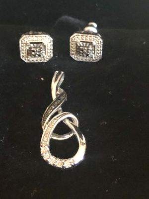 Black & White Diamonds (genuine) Sterling Silver Earrings & Necklace Charm; NEW for Sale in Elmhurst, IL