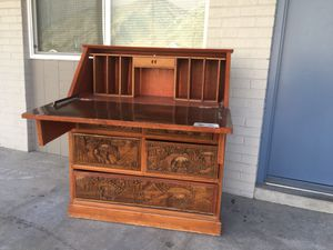 Antique wooden desk with Biblical carvings for Sale in Spanish Fork, UT