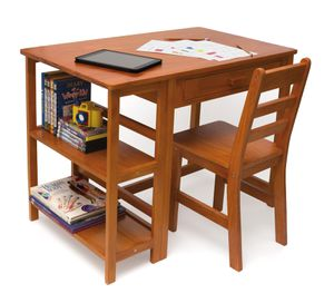 Kids Desk and Chair with Storage, Multiple Finishes, Color: Pecan for Sale in Beaumont, CA