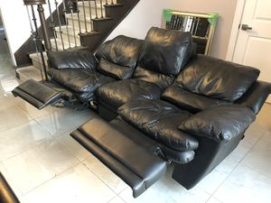 Black Leather 3 seat couch recliner for Sale in Costa Mesa, CA