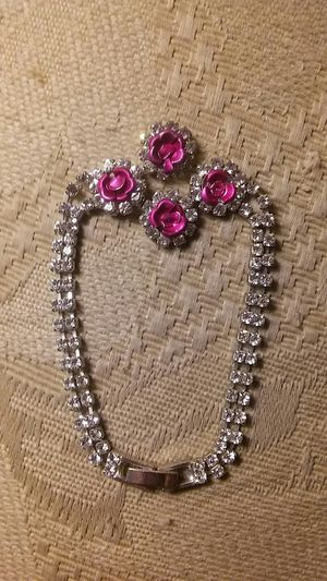 Rhinestones w/ Pink Cut Metal Roses for Sale in Aloha, OR