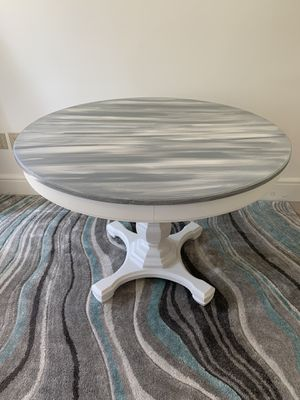 """Thomasville 44""""D round dining table- refinished in weathered style for Sale in Stow, MA"""