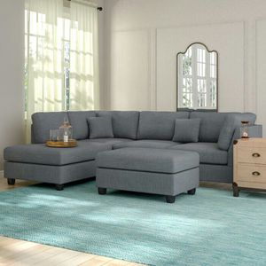 Grey Sectional with Cocktail Ottoman includes 2 seat sofa & reversible chaise lounge for Sale in Scottsdale, AZ