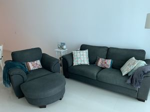 Set of 2 seat sofa chair + 1 seat sofa chair + ottoman for Sale in Miami, FL