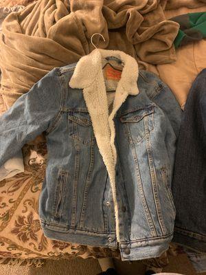 Large Levi Furred Jean Jacket for Sale in Washington, DC