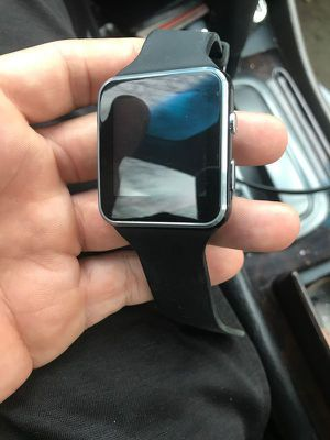 BLACK SMARTWATCH WITH CAMERA BLUETOOTH TOUCH SCREEN PAIR VIA BLUETOOTH OR USE SIM CARD for Sale in FAIR OAKS, TX