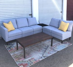 Brand new Grey modular sofa set 5 pieces with new ottoman for Sale in San Diego, CA