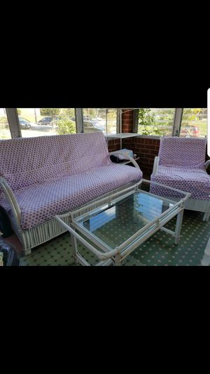Like new solid wicker wood furniture set for Sale in Silver Spring, MD