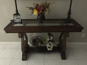 Entry way console table (ONLY TABLE NOT ITEMS) (Purchased at city furniture) Wood glass and iron for Sale in Lake Worth, FL
