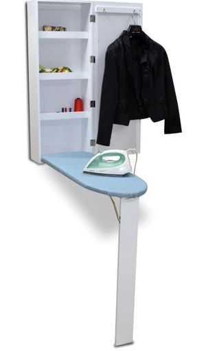Organizedlife White Wall Mount Ironing Board Center Cabinet with Mirror and Storage Shelves for Sale in Los Angeles, CA